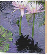 Two Pink Lilies In The Rain Wood Print