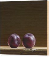 Two Plums Wood Print