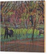 Two Ponies Wood Print