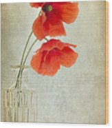 Two Poppies In A Glass Vase Wood Print