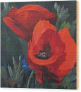 Two Poppies  Wood Print