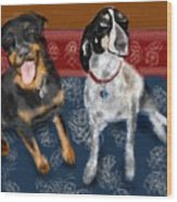 Two Pups On A Persian Carpet Wood Print