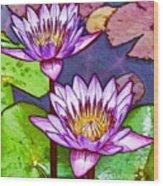 Two Purple Lotus Flower Wood Print