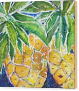 Two Purple Pineapples Wood Print