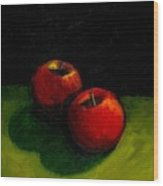 Two Red Apples Still Life Wood Print