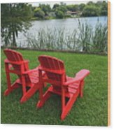 Two Red Chairs Overlooking Lake Formosa Wood Print