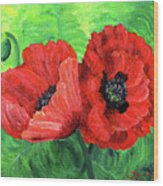 Two Red Poppies Wood Print