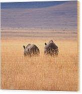 Two Rhino's Wood Print