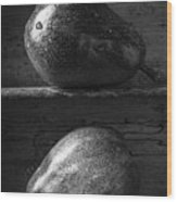 Two Ripe Pears In Black And White Wood Print