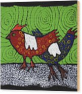 Two Roosters Wood Print