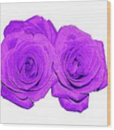Two Roses Violet Purple And Enameled Effects Wood Print