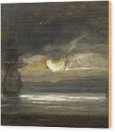 Two Sailing Boats By Moonlight Wood Print