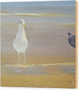 Two Seagulls Wondering Where The Chips Have Gone Wood Print