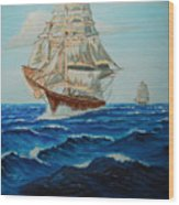 Two Ships Sailing Wood Print
