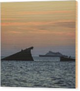 Two Ships Sunset Beach Cape May Nj Wood Print