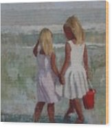 Two Sisters And Red Bucket Wood Print