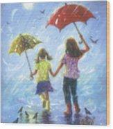 Two Sisters Rain Blond Little Sister Wood Print