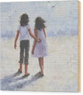 Two Sisters Walking Beach Wood Print