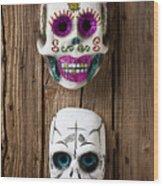 Two Skull Masks Wood Print