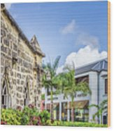 Two Solitudes, Holetown Church And Limegrove Mall, Barbados Wood Print