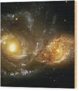 Two Spiral Galaxies Wood Print by Jennifer Rondinelli Reilly - Fine Art Photography