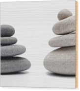 Two Stacks Of White And Gray Pebbles Wood Print