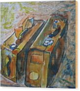 Two Suitcases With Financial Statements Wood Print