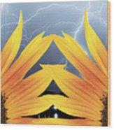Two Sunflower Lightning Storm Wood Print