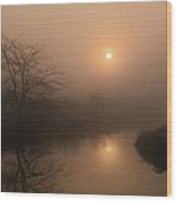 Two Suns In The Mist Wood Print