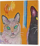 Two Superior Cats with Wild Wallpaper Wood Print