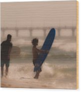 Two Surfers Wood Print