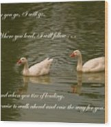 Two Swans - Marriage Vows Wood Print
