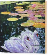 Two Swans In The Lilies Wood Print