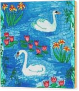 Two Swans Wood Print by Sushila Burgess