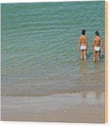 Two Teenage Girls Bathing At The Beach Wood Print