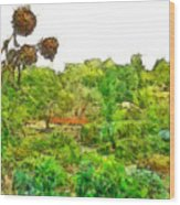 Two Thistles In The Garden Of The Simple Wood Print