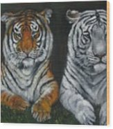 Two Tigers Oil Painting Wood Print
