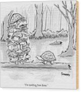Two Tortoises Speak. One Has A Large Number Wood Print