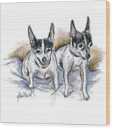 Two Toy Fox Terriers Wood Print