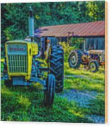 Two Tractors And A Barn 2697t Wood Print