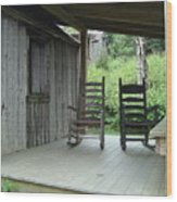 Two Tranquil Rocking Chairs In The Mountains Wood Print