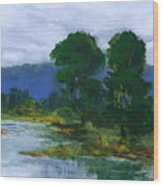 Two Trees In The Bay Land Wood Print