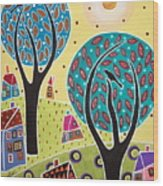 Two Trees Two Birds Landscape Wood Print