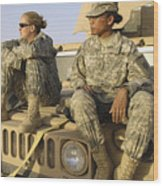 Two U.s. Army Soldiers Relax Prior Wood Print