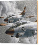 Two U.s. Navy T-2c Buckeye Aircraft Wood Print