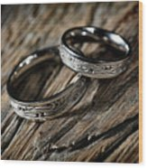 Two Wedding Rings With Celtic Design Wood Print