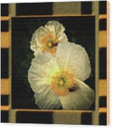Two Honey Bees Two White Flowers Matted Wood Print