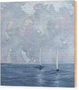 Two White Sails Wood Print