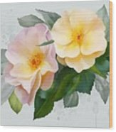 Two Wild Roses Wood Print