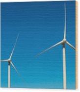Two Wind Turbines Wood Print